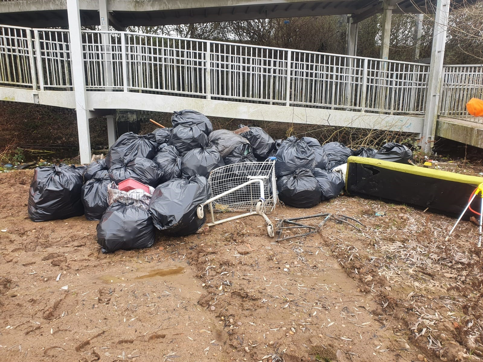150 bags were collected from one site recently, weighing more than a tonne.