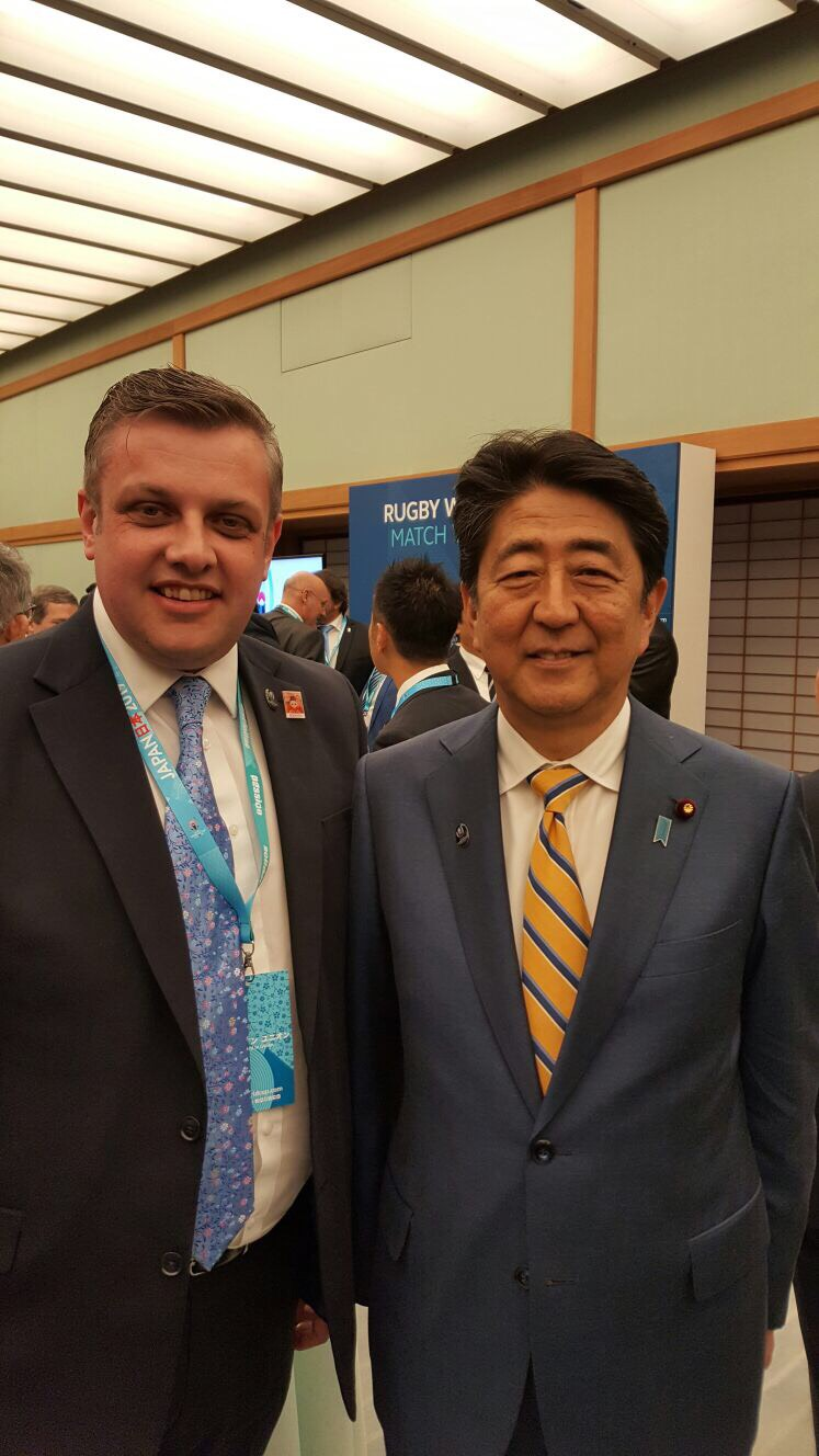 Cllr Stokes met Mr Abe at the Rugby World Cup 2019 pool draw in Kyoto.