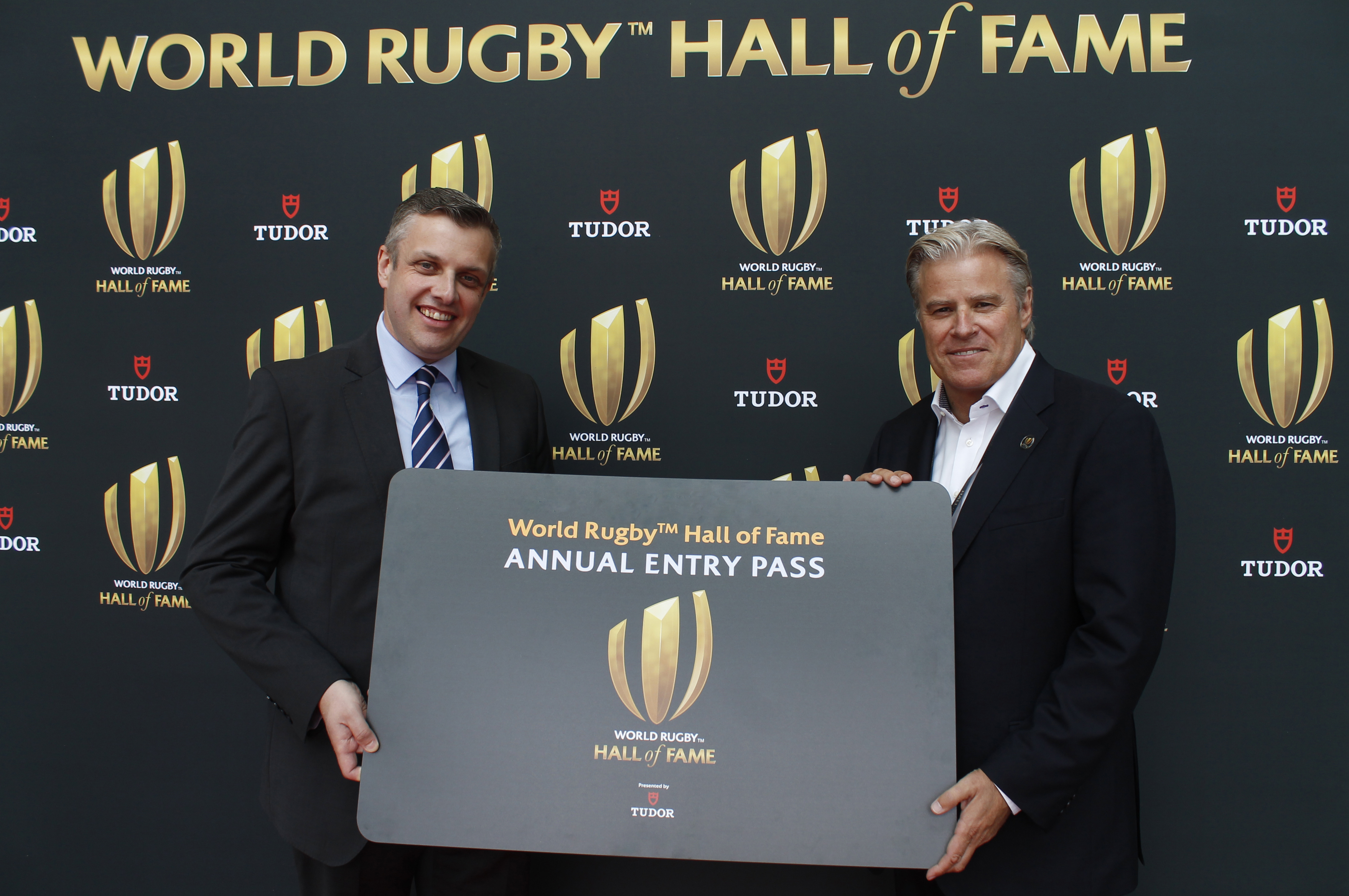 Cllr Michael Stokes, leader of Rugby Borough Council, and Brett Gosper, World Rugby chief executive officer, launch the Annual Entry Pass at the World Rugby Hall of Fame.