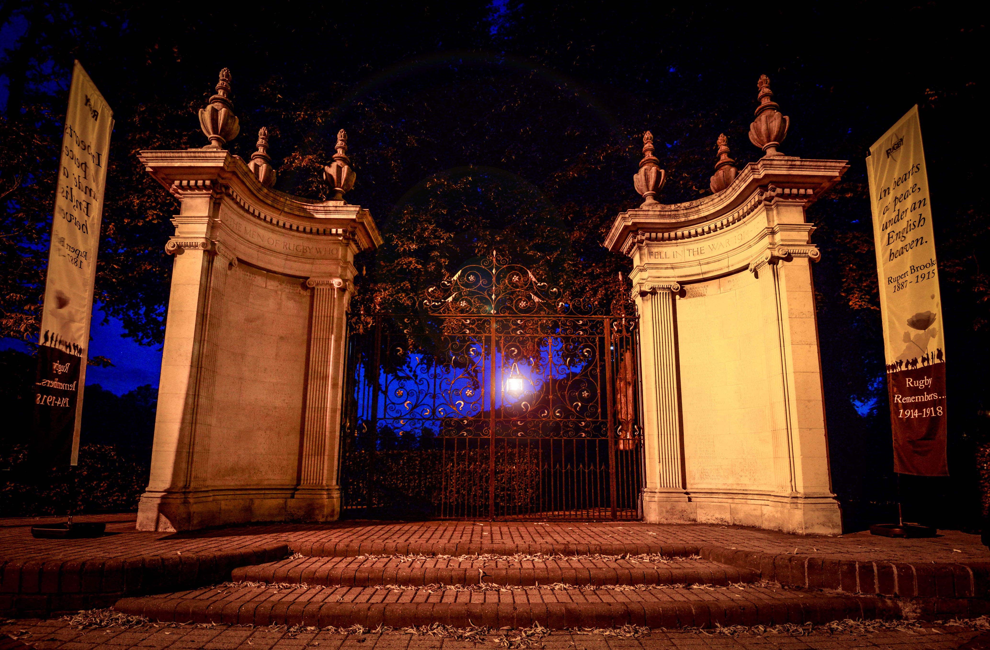 A lantern shines on the Whitehall Rec memorial gates to commemorate a centenary since the outbreak of war in 1914.