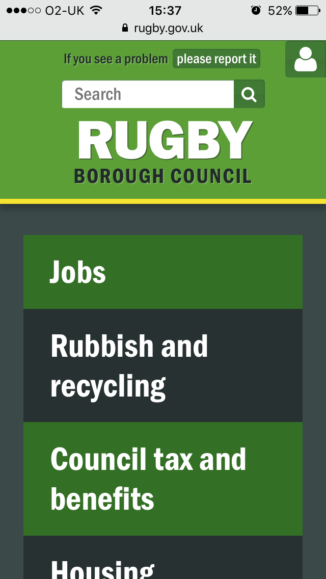 The Rugby Borough Council website is optimised for smartphones and tablets.