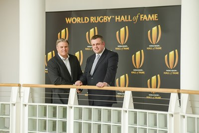 Brett Gosper, CEO of World Rugby and Cllr Michael Stokes, Leader of Rugby Borough Council, launch the World Rugby Hall of Fame.