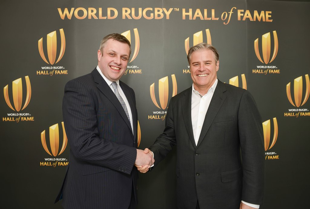 Cllr Michael Stokes and Brett Gosper, CEO of World Rugby, launch the World Rugby Hall of Fame.