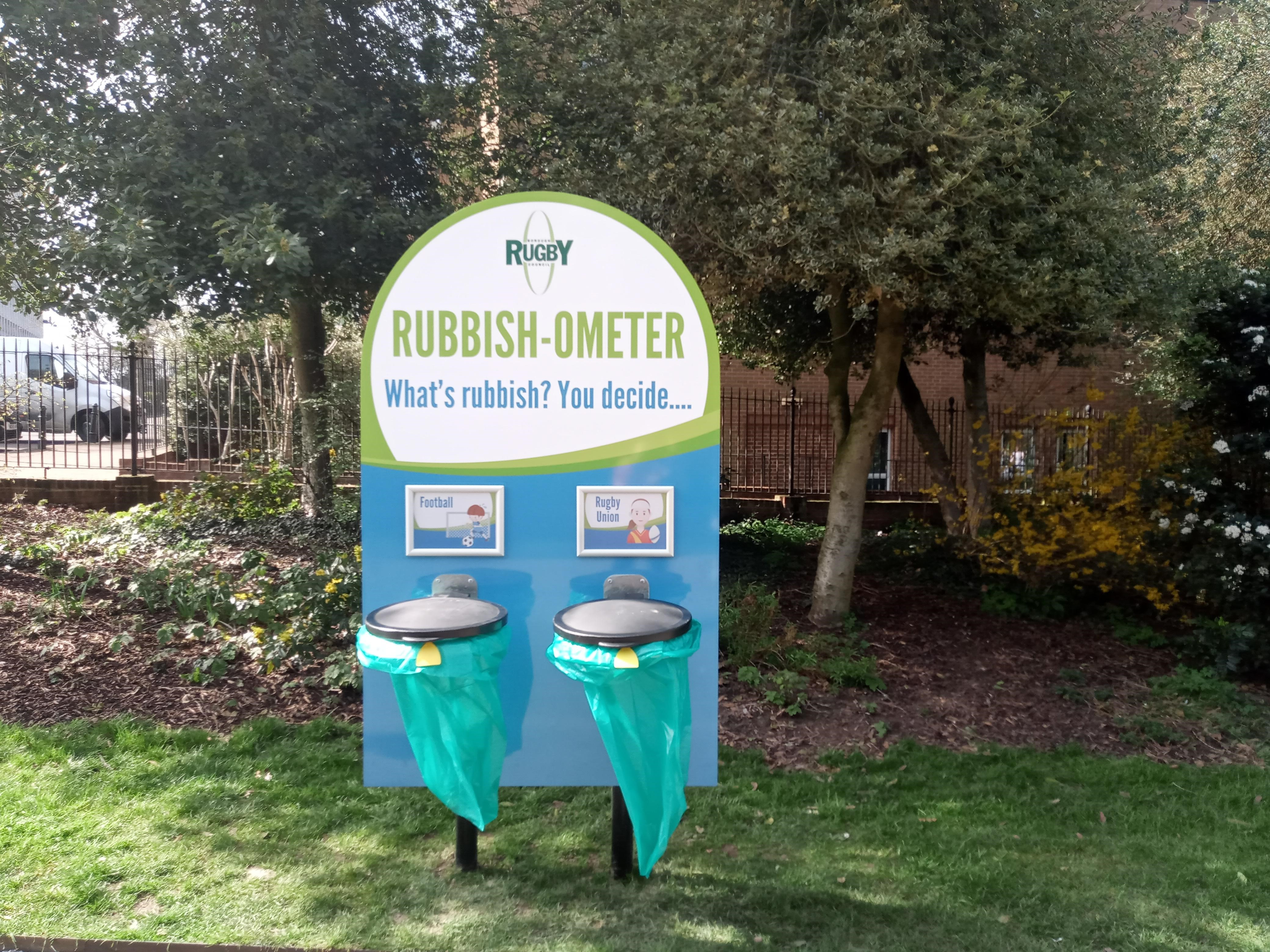"Rugby Borough Council's experimental ""rubbish-ometer"" allows residents to cast a vote with their rubbish"